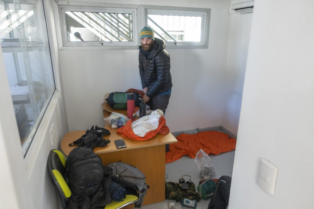 Time to pack up! Chilean Border office Sleeping Arrangements