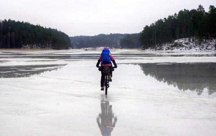 Riding across a frozen lake in Sweden