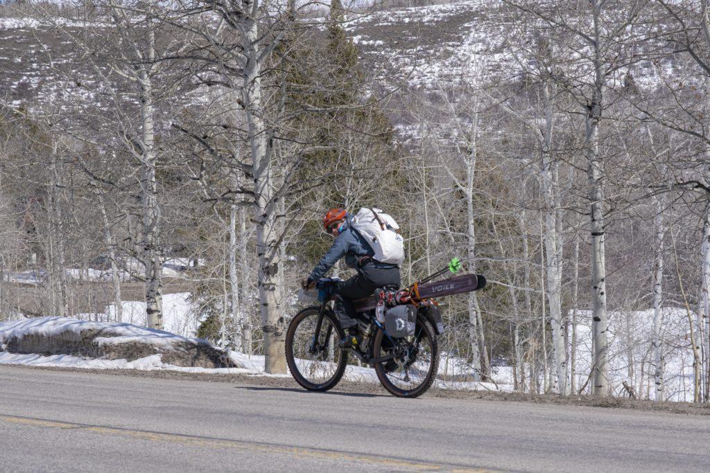 Biking home after a great ski weekend