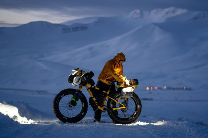Chris Burkard Riding a Fat Bike in Iceland at Night