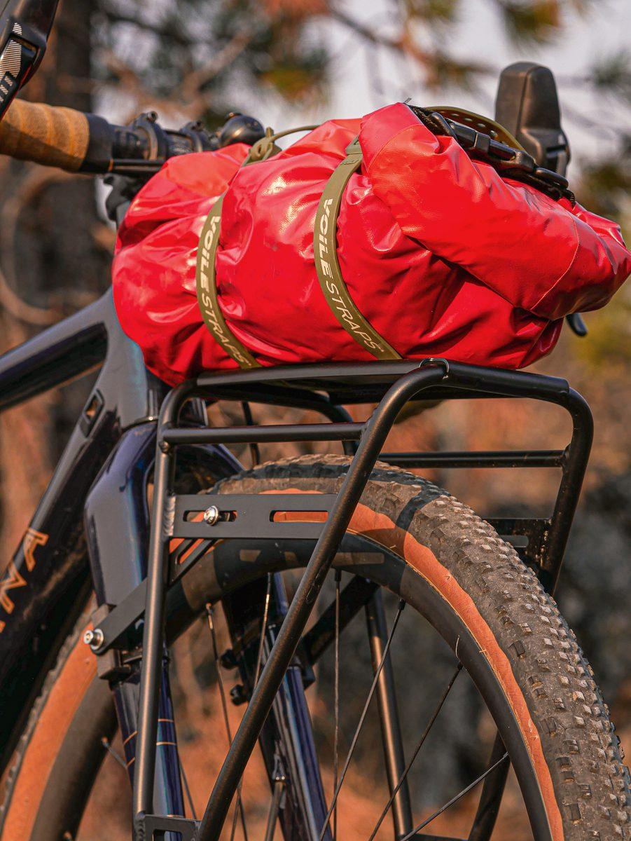 Pannier rack mounted on a gravel bike fork