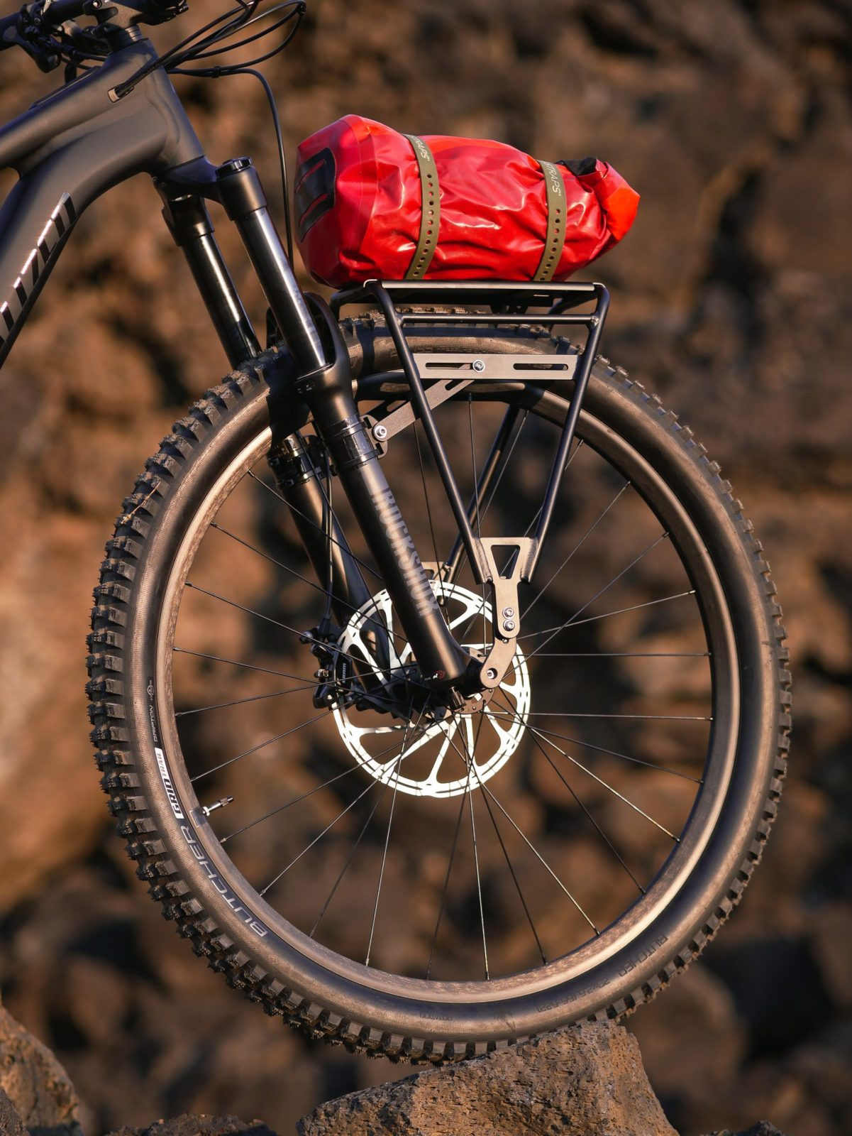 Bike Cargo rack mounted on a mountain bike fork